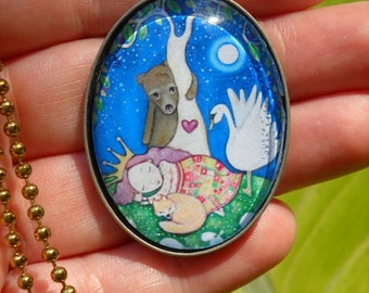 Sleeping Beauty Necklace Oval Pendant Gift for friend girl swan bear necklace Bronze Setting gift for sister daughter art jewelry jewellery