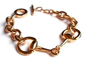 Gold Horse Bit Equestrian Bracelet Chunky Link Statement Chain Bracelet for Layering and Stacking