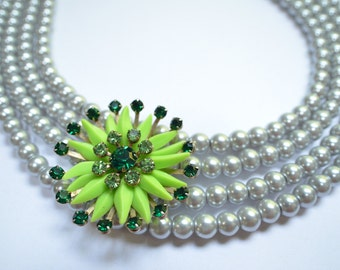 The Sputnik- Silver Pearls and Vintage Green Brooch Necklace