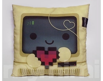 "16 x 16"" Pillow, Computer Pillow, Vintage, Retro, 8bit Heart, I Love You, Nerdy Pillow, Toy Pillow, Throw Pillow, Kawaii, Office Dorm Decor"