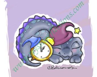Alarmclock Dragon Doodle Art Print