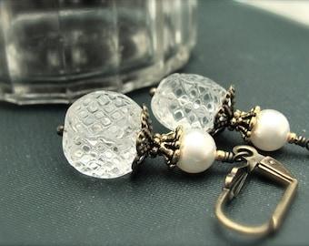White Earrings, Swarovski Pearl Earrings, White Wedding Jewelry, Steampunk Neo Victorian Style Wedding Earrings Antiqued Golden Earrings