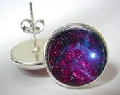 Cosmos Earrings - Button Stud Earrings - Silver Finish