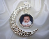 Personalized Crescent Moon Pendant with Custom Photo Charm - Optional Snake Chain in 3 Lengths - NEW