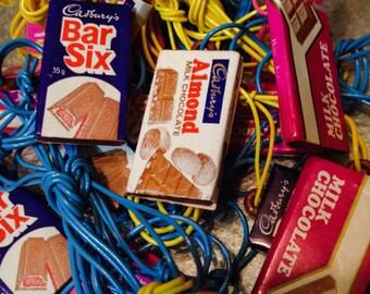5pcs TINY BRITISH CHOCOLATES 1970s Plastic Charms