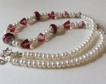 Mystic Pink Quartz Necklace with Pearls and Sterling Silver, Smokeylady54
