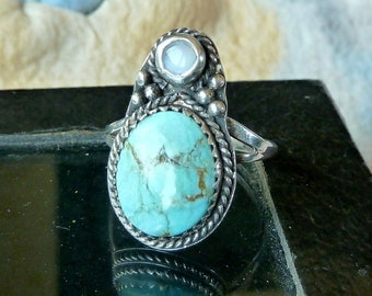 Turquoise n Opal Southwestern Bug Ring in sterling silver Native American Indian style size 8.5 beetle