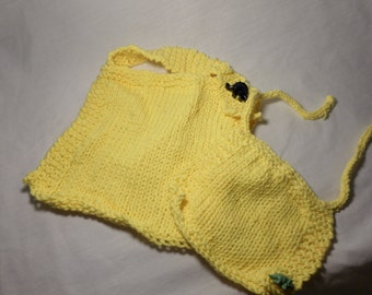 Knit Infant Bib Set 100% Cotton Yellow