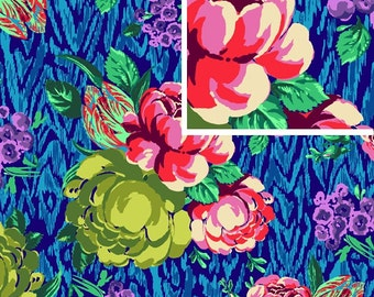 Tapestry Rose in Sapphire /1 Yard / Hapi Amy Butler Fabric / Cotton  Quilt Apparel Fabric