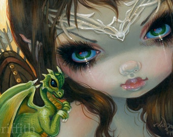 Faces of Faery 221 fairy face art print by Jasmine Becket-Griffith 6x6 archer medieval dragonling baby green dragon