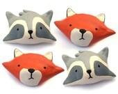 Paper Clay Fox or Raccoon Brooch Pin