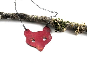 Red Fox Necklace - Handmade Copper Fox Pendant