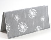 Checkbook Cover Gray Grey Dandelion