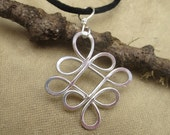 Celtic Knot Pendant, Looping Celtic Crossed Knots Sterling Silver Wire Necklace - Celtic Jewelry Gift for Women, Irish Jewellery,
