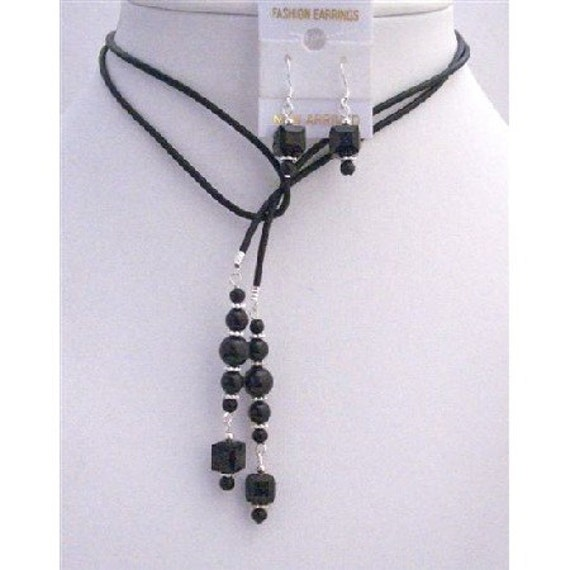 Black Pearls Crystals Leather Lariat Necklacev Jet Crystal Necklace Earrings Set Free Shipping In USA