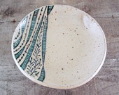 Hand Built Pasta Bowl with Wavy Stripes and Dots - Turquoise, Black, and White - Leaves