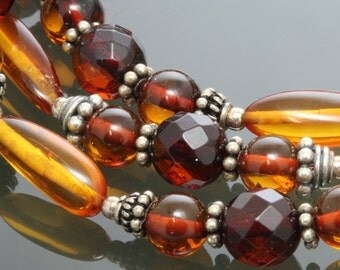 Genuine Amber Bracelet. Three Strand. Red and Golden Amber. Beaded Bracelet. Multi-Strand. Sterling Silver. Slide Clasp. f13b004