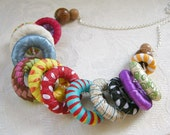 Carnival Hoops No. 1 - handmade ribbon-wrapped hoops necklace