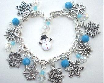 Flakey Snowman I LOVE SNOW Charm Bracelet