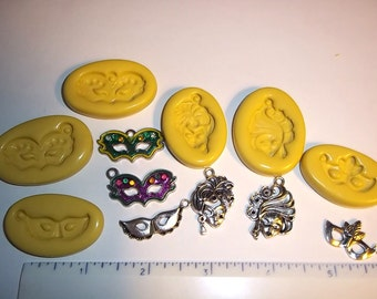 Mask Charms - Set/6 -  Masquerade Ball Masks Flexible Push Mold Moulds For Resin Polymer Clay - Food Safe Silicone - L110