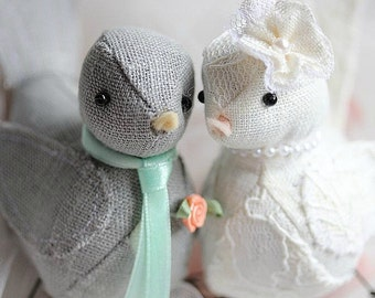 Love Birds cake topper - Wedding Cake Topper Love birds - Vintage chic - Shabby Chic  - Love Birds - CUSTOM ORDER