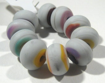 Handmade Lampwork Beads - Matte White Mix Set