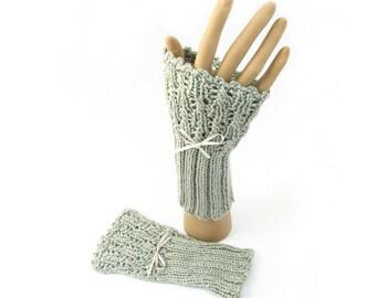 Pure silk handwarmers, lacy handknit cuffs beaded wristwarmers, silver grey knitted cuffs, natural fiber wedding gloves, made in UK