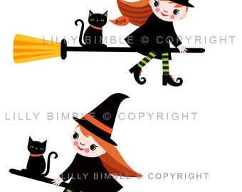 80% off Halloween Little Witch clipart in flying witches, cat, witch feet, cute  INSTANT DOWNLOAD