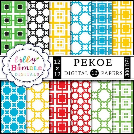 80% off Digital scrapbook paper Pekoe Commercial Use Included trellis, modern INSTANT DOWNLOAD quatrefoil