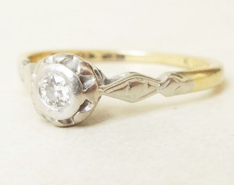 Art Deco Diamond Solitaire Engagement Ring Platinum and 18k Gold Ring Approx. Size US 5.75