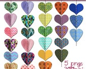 Bunting Clip Art, Stitched Hearts Bunting, Digital Scrapbooking Bunting, Scrapbooking Elements, Hearts Bunting Clip Art, Bunting Clipart