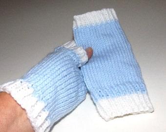 SALE . Hand knit fingerless gloves . Blue white gloves . Fingerless mittens . Handknit mitts . No finger gloves . Knit hand warmers . Medium