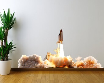 "Space Shuttle Launch Wall Decal - 27"" tall x 58"" wide"