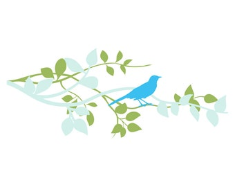 Entwined Branchs and Blue Bird Wall Decal