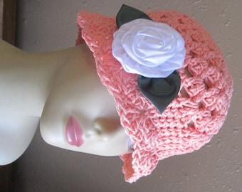 Handmade Peach Cotton Cloche 1920s Flapper All-Season Sun Hat White Satin Roses
