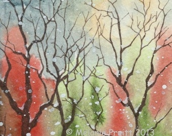Snow Woods ORIGINAL watercolor SFA  winter tree moon painting by Melanie Pruitt EBSQ
