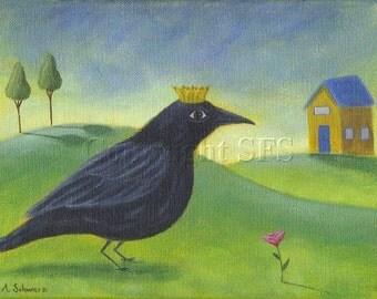 Crow Art, Whimsical Print, Fairy Tale, Art for Children, Crow Folk Art, Bird Illustration, Nursery Room, Kids Decor, Storybook, Happy Art