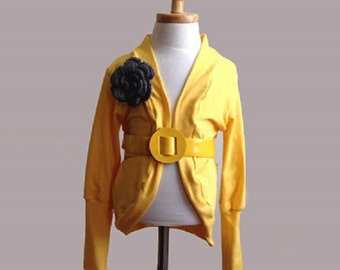 Yellow Toddler Long Sleeve Cardigan with Grey Crocheted Flower
