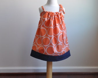 Orange Dots Toddler Dress, pillowcase dress, modern dress, girls