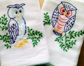 Wise Old Owls Hand Embroidered Dish Towels