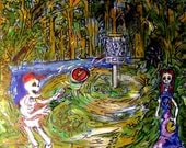 "Disc Golf with the dead 12.5""x 14"" original on wood with black trim"