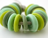 IRISH GREEN TRIO Wavy Disk Set - mint olive and key lime - Lampwork Disc Beads - taneres