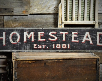 Custom Family Homestead Est. Date Sign - Rustic Hand Made Vintage Wooden ENS1000537