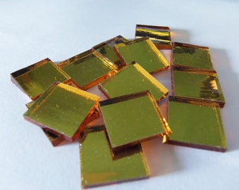 50 - 1/2 inch GOLD MIRROR Hand Cut Square Glass Mosaic Tiles-Specturm Silvercoat
