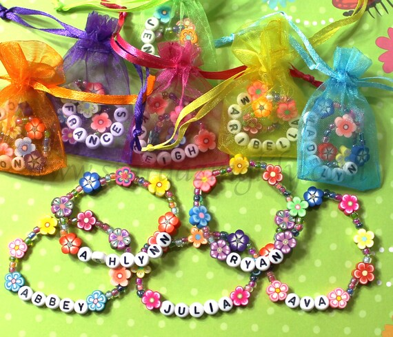 Kids Personalized Luau Party Favors Flower Lei Bracelets Children's Jewelry Name Bracelet Baby Child Kid Toddler Garden Party Clay