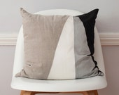 Asymmetric Monochromatic Silk and Linen Pillow - 18 Inches