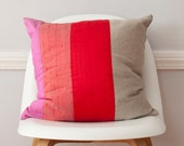 Red Striped Colorblock Silk and Linen Pillow - 18 Inches