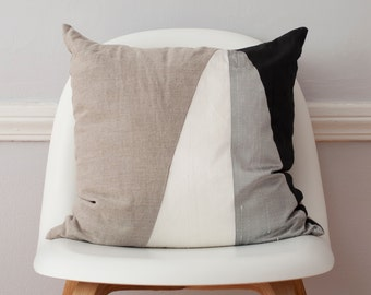 Asymmetric Monochromatic Silk and Linen Pillow - 18 Inches LAST ONE!