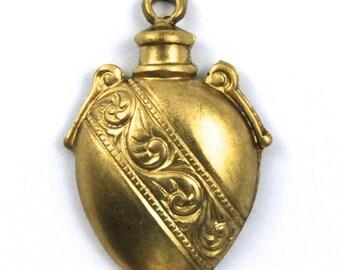 20mm Raw Brass Decorative Vessel Charm #168