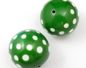30mm Green and White Harlequin Dot Bead #2061